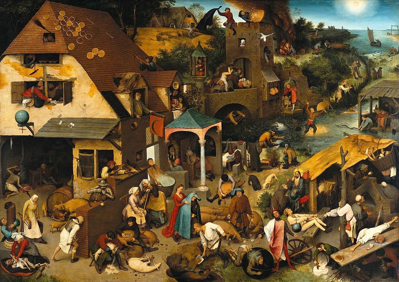 Pieter Brueghel the Elder: Netherlandish Proverbs  尼德兰箴言 The Blue Cloak, The Topsy Turvy World